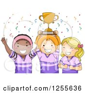 Clipart Of Happy Black And White Sporty Girls Cheering With Their Trophy Royalty Free Vector Illustration by BNP Design Studio