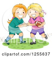 Clipart Of Happy White Girls Playing American Football Royalty Free Vector Illustration by BNP Design Studio