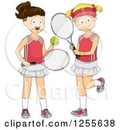 Clipart Of Brunette And Blond White Girls With Tennis Gear Royalty Free Vector Illustration by BNP Design Studio