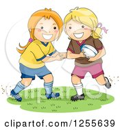 Clipart Of Happy White Girls Playing Rugby Football Royalty Free Vector Illustration