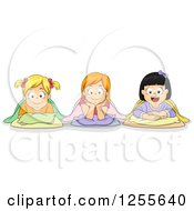 Clipart Of Caucasian And Asian Girls With Their Bedding At A Slumber Party Royalty Free Vector Illustration by BNP Design Studio