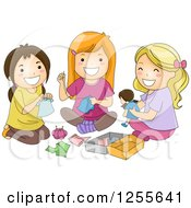 Clipart Of Hispanic And White Girls Sewing Clothes For A Doll Royalty Free Vector Illustration