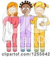 Clipart Of Happy Black And White Girls Smiling In Their Footie Pajamas At A Slumber Party Royalty Free Vector Illustration by BNP Design Studio