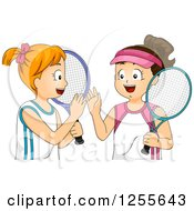 Brunette And Red Haired White Girls Giving High Fives With Tennis Gear