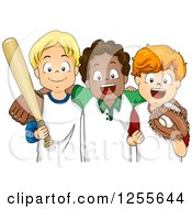 Clipart Of White And Black Boys With Baseball Gear Royalty Free Vector Illustration by BNP Design Studio