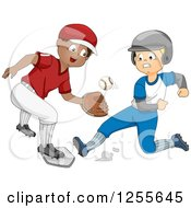 Clipart Of White And Black Boys Playing Baseball One Sliding For Home And One Catching A Ball Royalty Free Vector Illustration