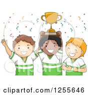 Clipart Of White And Black Baseball Boys Holding A Championship Trophy Royalty Free Vector Illustration
