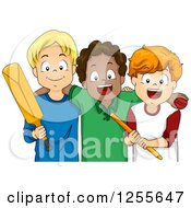 Clipart Of White And Black Cricket Player Boys Royalty Free Vector Illustration by BNP Design Studio