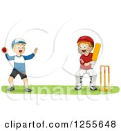 Clipart Of White Boys Playing Cricket Royalty Free Vector Illustration