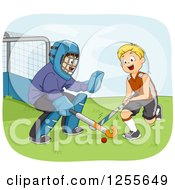 Clipart Of White Boys Playing Field Hockey Royalty Free Vector Illustration by BNP Design Studio