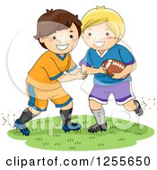 Clipart Of White Boys Playing American Football Royalty Free Vector Illustration by BNP Design Studio
