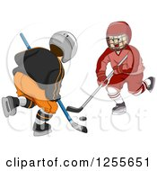 Clipart Of Two Boys Playing Ice Hockey Royalty Free Vector Illustration by BNP Design Studio