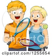 Clipart Of Happy White Boys With Tennis Gear Royalty Free Vector Illustration