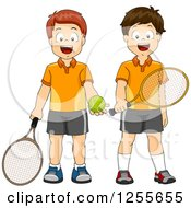 Clipart Of Caucasian Boys Ready To Play Tennis Royalty Free Vector Illustration