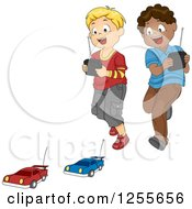 Clipart Of White And Black Boys Playing With Remote Controlled Cars Royalty Free Vector Illustration