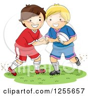 Clipart Of White Boys Playing Rugby Football Royalty Free Vector Illustration by BNP Design Studio