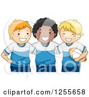 Clipart Of Happy White And Black Boys In Rugby Uniforms Royalty Free Vector Illustration