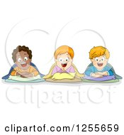 Clipart Of Happy White And Black Boys In Sleeping Bags At A Slumber Party Royalty Free Vector Illustration