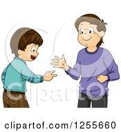 Clipart Of Brunette White Boys Playing Rock Paper Scissors Royalty Free Vector Illustration by BNP Design Studio