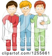 Clipart Of Three Boys Posing In Footie Pajamas Royalty Free Vector Illustration