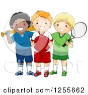 Clipart Of White And Black Boy With Different Sports Gear Royalty Free Vector Illustration by BNP Design Studio
