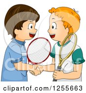 Clipart Of Caucasian Tennis Boys Shaking Hands Royalty Free Vector Illustration by BNP Design Studio