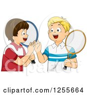Clipart Of Caucasian Tennis Boys Giving A High Five Royalty Free Vector Illustration
