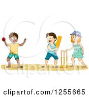 Clipart Of White And Black Children Playing Cricket On A Beach Royalty Free Vector Illustration by BNP Design Studio