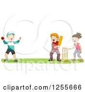 Clipart Of A Girl And Boys Playing Cricket At A Park Royalty Free Vector Illustration