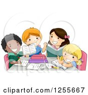 Clipart Of Black And White School Children In A Group Study Royalty Free Vector Illustration