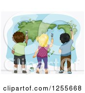 Rear View Of Black White And Asian Children Painting A World Map
