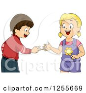Clipart Of A White Girl And Boy Playing Rock Paper Scissors Royalty Free Vector Illustration