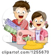 Clipart Of A Brunette White Boy And Girl Sewing Royalty Free Vector Illustration by BNP Design Studio