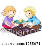 Clipart Of A White Girl And Boy Studying Planets Of The Solar System Royalty Free Vector Illustration