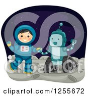 Clipart Of A Boy Astronaut And Robot On The Moon Royalty Free Vector Illustration by BNP Design Studio