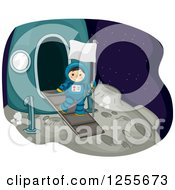 Clipart Of A Boy Astrunaut Carrying A Flag On The Moon Royalty Free Vector Illustration