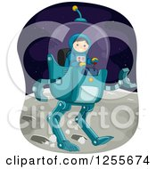 Clipart Of A Boy Astronaut Controlling A Robot Vehicle On The Moon Royalty Free Vector Illustration