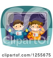 Clipart Of A Boy And Girl Astronaut Looking Through A Window Royalty Free Vector Illustration