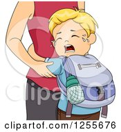 Blond White School Boy Crying And Clinging To His Mother