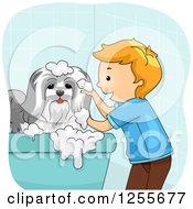 Clipart Of A Happy White Boy Bathing His Dog Royalty Free Vector Illustration by BNP Design Studio