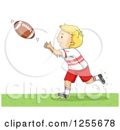 Clipart Of A Blond White Boy Catching An American Football Royalty Free Vector Illustration by BNP Design Studio