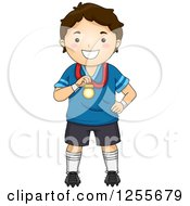 Clipart Of A Brunette White Boy Holding A Medal Royalty Free Vector Illustration by BNP Design Studio