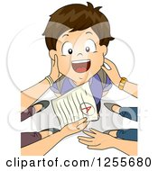 Clipart Of A Proud Brunette White School Boy Being Praised For Good Grades By His Parents Royalty Free Vector Illustration