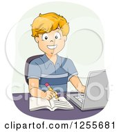 Clipart Of A Happy White School Boy Taking Notes And Studying On A Laptop Computer Royalty Free Vector Illustration