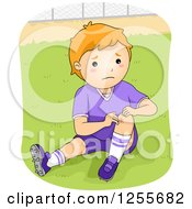 Clipart Of A Caucasian Boy Showing A Knee Scrape From Playing Football Royalty Free Vector Illustration