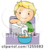 Blond White Boy Pouring Milk On His Cereal