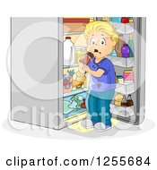 Blond Caucasian Boy Caught Eating Chocolate At An Open Fridge