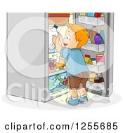 Clipart Of A Red Haired White Boy Grabbing Milk From A Fridge Royalty Free Vector Illustration by BNP Design Studio