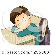 Clipart Of A Tired White Brunette School Boy Sleeping At His Desk Royalty Free Vector Illustration