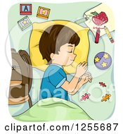 Clipart Of A Brunette Caucasian Boy Napping With School Supplies Royalty Free Vector Illustration